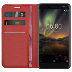 Leather Wallet Case & Card Slot Holder for Nokia 6.1 (2018) - Red